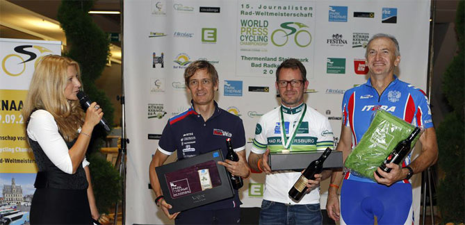 Journalisten-Rad-Weltmeisterschaften 2014, Siegerehrung im Zehnerhaus, Bad Radkersburg